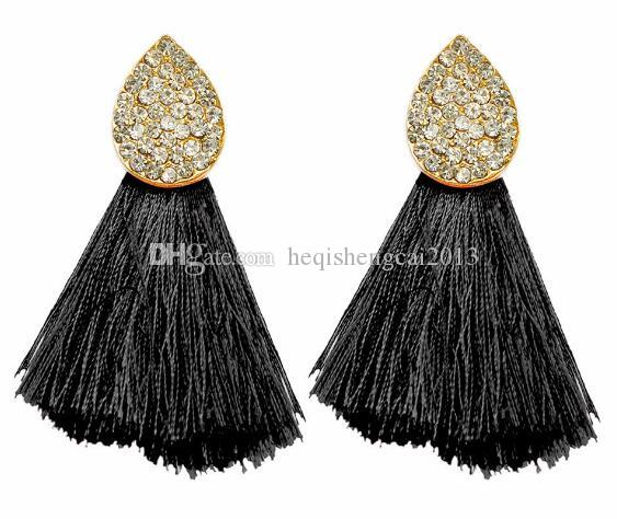 free shipping Popular cloth art tassel earring drops of water is set auger small tassel vogue is classic and delicate and elegant
