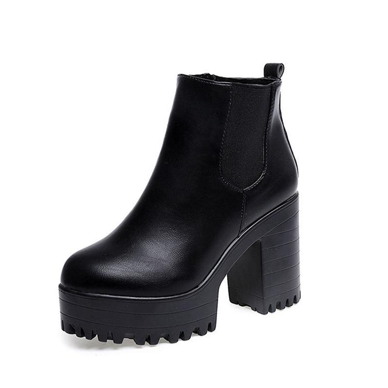 09be009923e7b Compre Botas Mujer Moda Mujer Botas Plataformas De Tacón Cuadrado Zapatos  Mujer PU Cuero Muslo Alta Bomba Botas Motos Zapatos H 110 A  68.45 Del  Kaochange ...