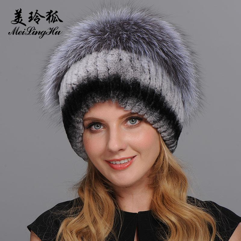 Women Warm Genuine Fur Hats Natural Rex Rabbit Fur Fox Skin Top Mushroom  Shape Caps 2017 Winter New Female Casual Beanies D19011503 Hats For Men  Snapback ... 9b25cf2234d