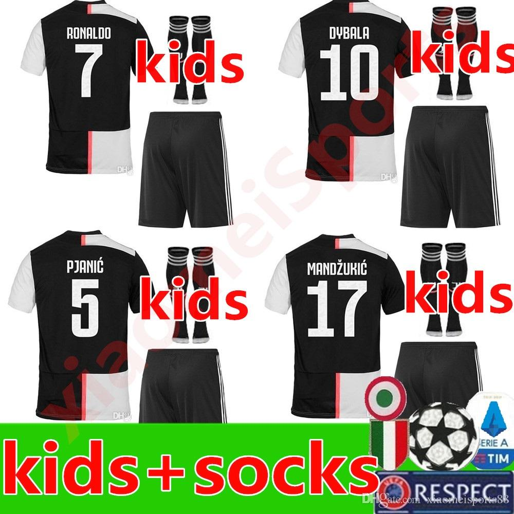 info for 912a0 b31e3 2019 2020 boys Juventus RONALDO Soccer Jersey youth Szczesny GOALKEEPER  Bernardeschi 19 20 JUVE DYBALA Kids kit Football Shirt Uniforms