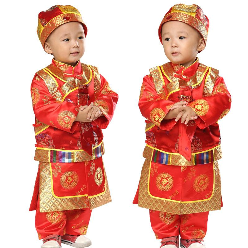 Cotton 3pcs New Year Clothing Set for Baby Boys Long Sleeve Gown+Vest+Hat Boy Children's Tang Suit Chinese Traditional