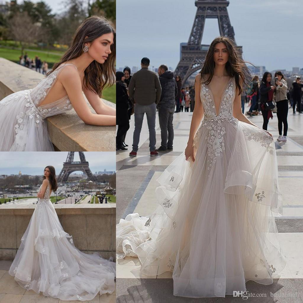 Discount Vintage 2019 V Neck Appliques Tulle A Line Beach Wedding Dresses  Tiered Ruffles Backless Boho Garden Wedding Bridal Gowns Vestidos De Novia  Bride ... b5539be1bfdb