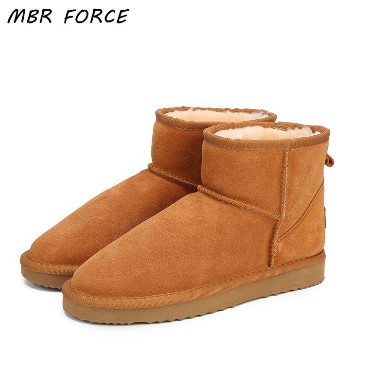 0ee7bcf8 Compre 2019 MBR FORCE Australia Botas De Nieve Para Mujer Botas De Tobillo  De Cuero 100% Genuino Botas De Invierno Cálido Zapatos De Mujer De Gran  Tamaño 34 ...