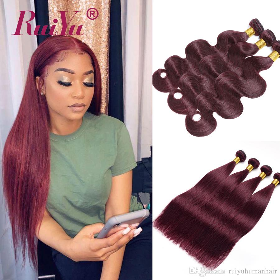99J Burgundy Colored Indian Human Hair Bundles 3 Pcs Red Wine Color Straight Hair Weave Wefts Ruiyu Remy Body Wave Hair Vendor Extensions