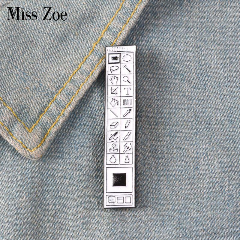 Photoshop Toolbar Enamel Pin badge brooch Lapel pin Denim Jeans shirt bag  Old School toolbar Jewelry Gift for Designers Friends