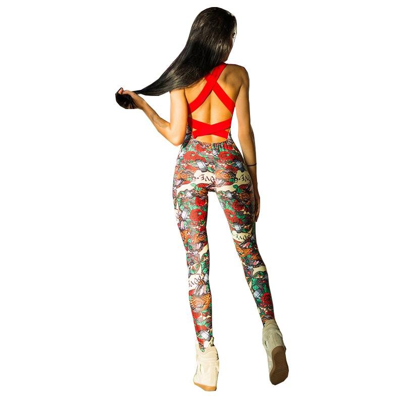 ad809d40c70 2019 Workout Tracksuit for Women One Piece Sport Clothing Backless Sport  Suit Running Tight Flower Print Sportswear Gym Yoga Set