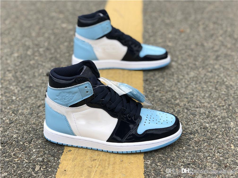 23e93867d25 2019 Best 2019 Authentic 1 High OG Retro WMNS ASG UNC Patent Basketball  Shoes Mans Obsidian Blue Chill White Sports Boots 1S Sneakers CD0461 401  From ...