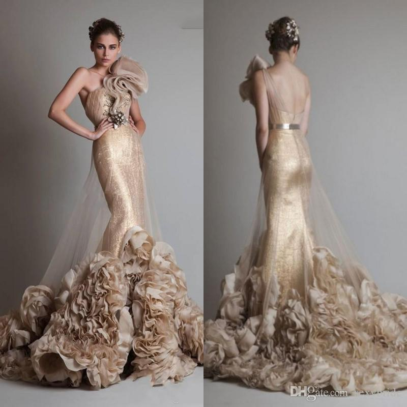 Luxurious Gold One Shoulder Mermaid Wedding Dresses Trumpet Sleeveless Champagne Zuhair Murad Bridal Gowns With 3D Flower And Sash