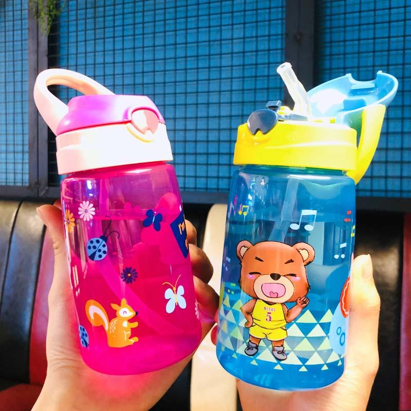 430ml Cute Bear Bottles for Baby girls boys Infant Water Milk Bottle Feeding Cup With straw