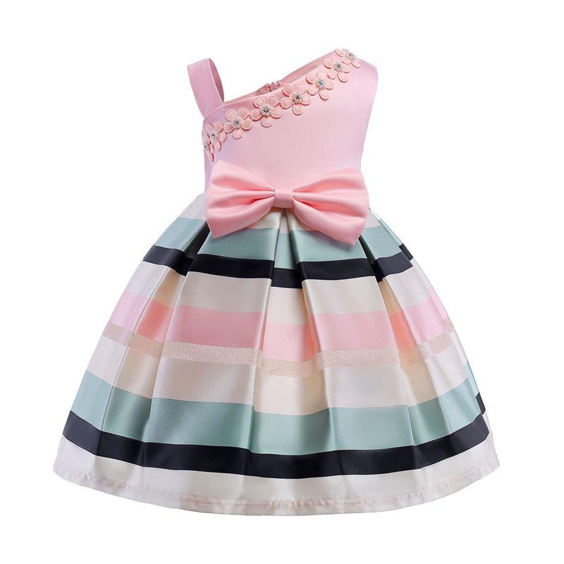 bed09c80fc6 Bow Dress Kids Party Wear Children s Clothing Girl Wedding Dresses Single  Shoulder Pearl Flower Skirt Dance Prom Formal Gown