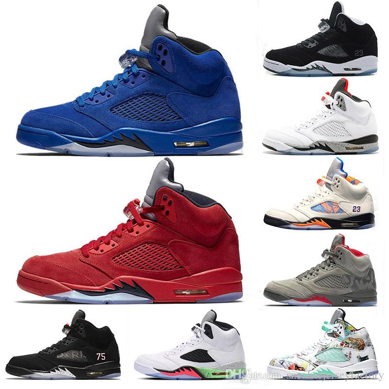factory price fec64 58eb4 Rojo Azul Gamuza 5s Zapatos De Baloncesto Para Hombre Blanco Uvas Camo Gris  Espacio Jame Ganar Como Metallic Silver Mens Deportes De Carreras Zapatillas  ...