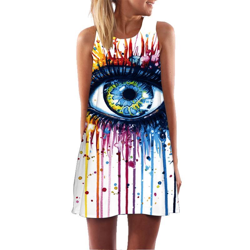 aa4fcddf1b1d Acquista Vestito A Maniche Lunghe Da Donna Con Stampa 3D Graffiti Big Eye  Abiti Da Donna Casual A Maniche Lunghe In Velluto Elegante Vestidos  Dropship A ...