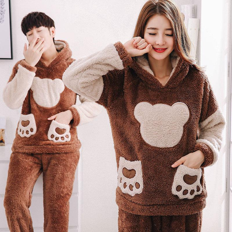 Fashion Winter Thicken Flannel Pajamas Sets Women Warm Couple ... 0e1247d49