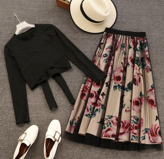 2019 New Spring and Autumn Women's Long Sleeve Bow Tie T-shirt + Flower Printed Gauze Skirt Two Piece Ladies Long Skirt Suits