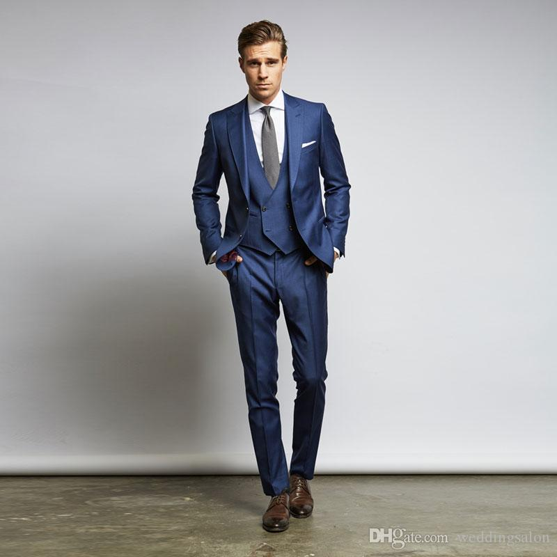 Best Selling Blue Men Suits Slim Fit Wedding Suits For Men With Jacket Vest And Pants Groom Tuxedos Three Pieces Cheap Blazers