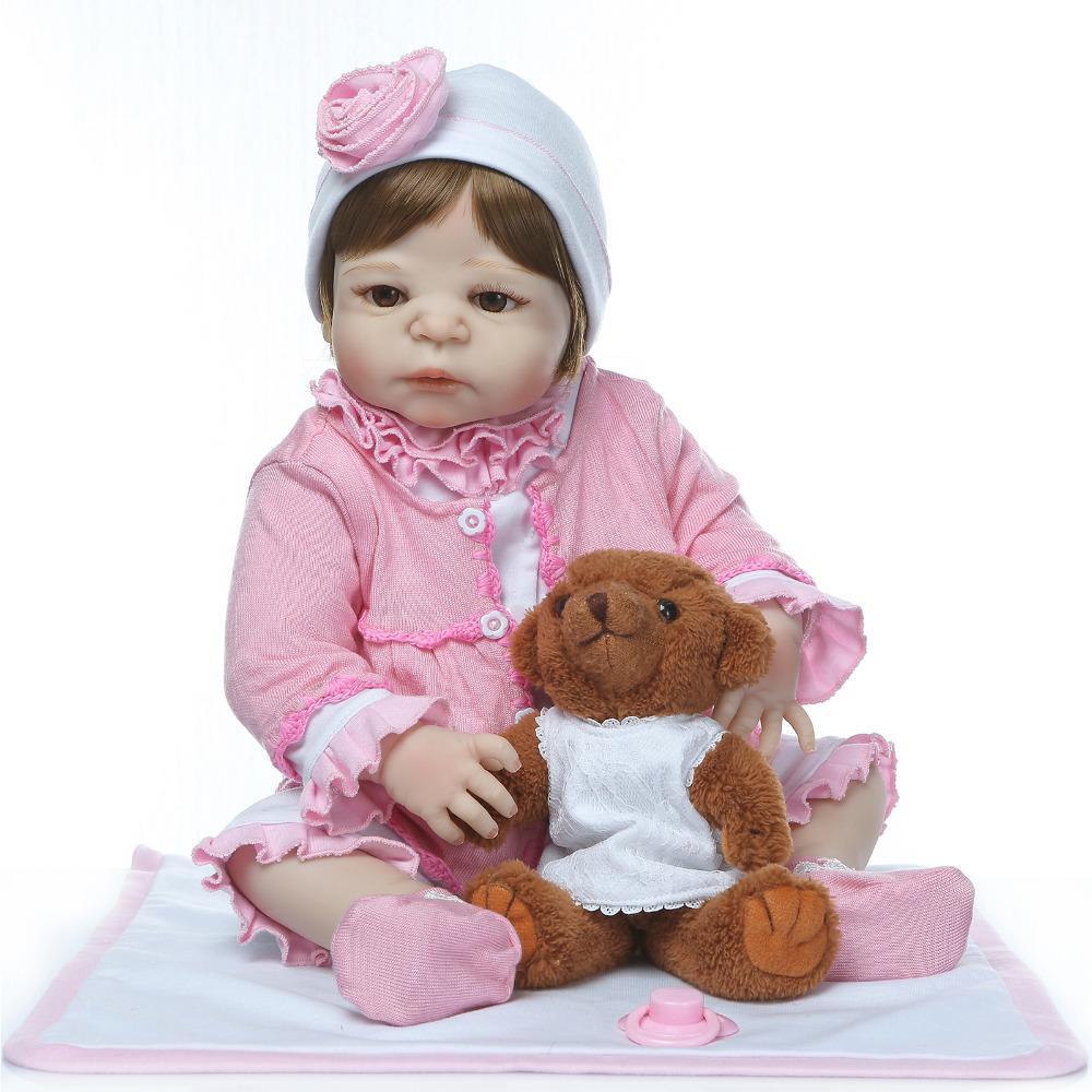 Mini Plush Toy With 55 Cm Silicone Reborn Dolls Baby Real Alive Girl Doll Reborn 22 Vinyl Boneca Bebe Reborn Toy For Boy Gift Toys & Hobbies