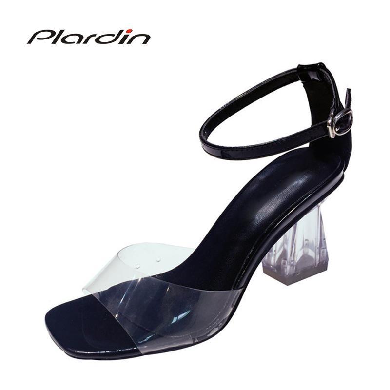 Compre Zapatos De Vestir De Diseñador Plardin Nuevo Verano Mujer Sexy Peep  Toe Sandalias De Tacón Cuadrado Correa De Hebilla Correa De Tobillo Con Una  ... f0067027ec6a