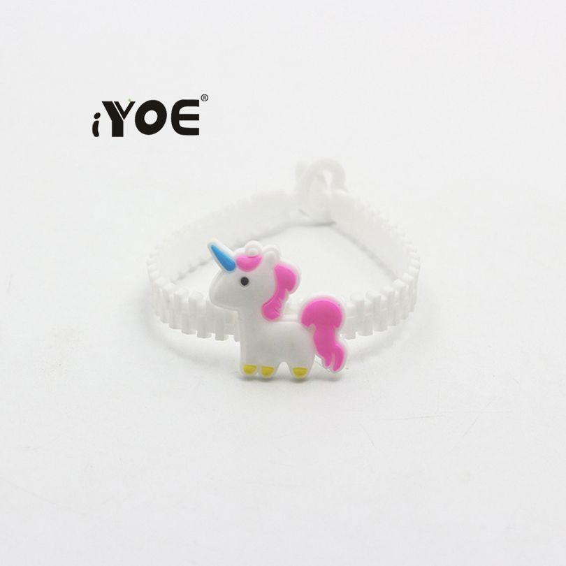 iYOE Flamingo Mermaid Unicorn Bracelet Bangles For Kids Cartoon Lovely Animal Charm Bracelets Wrap PVC Children Christmas Gifts