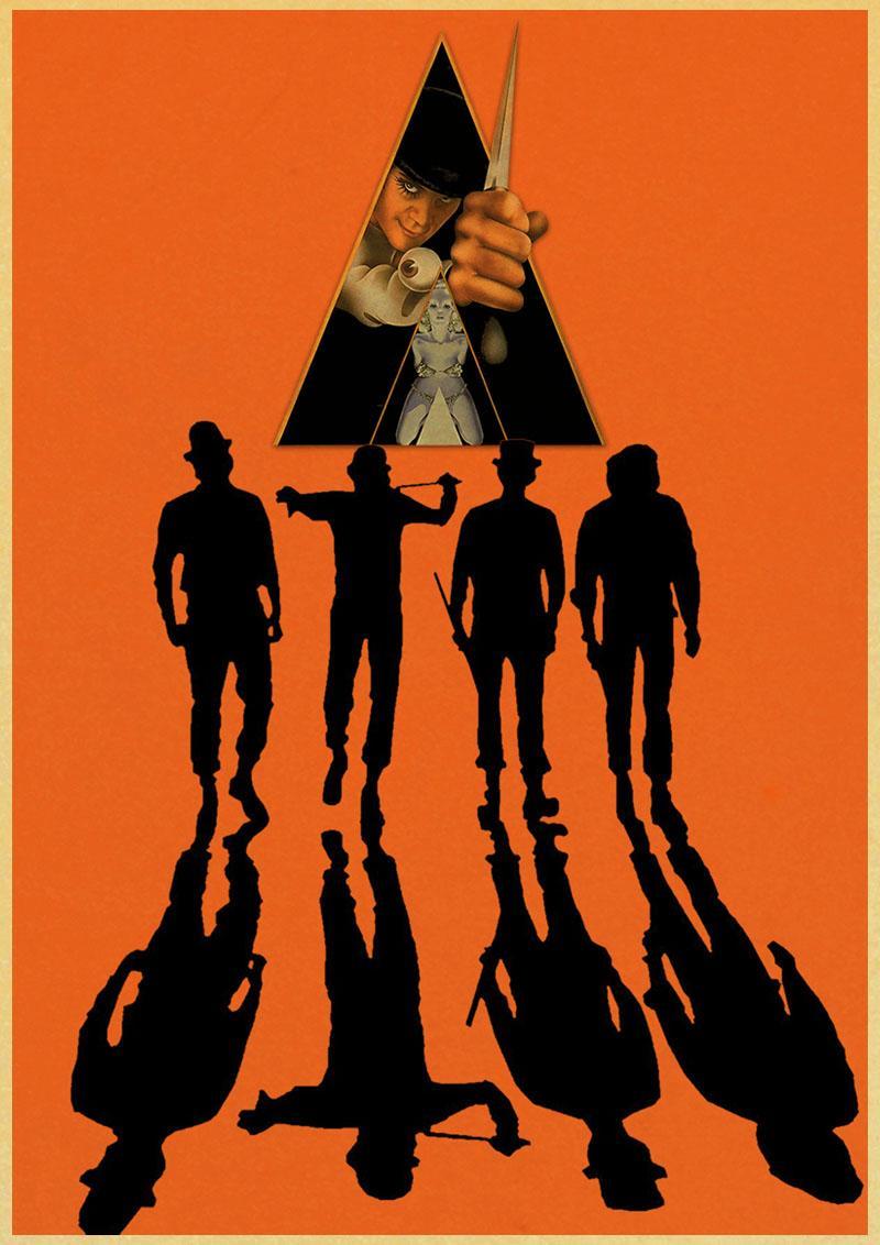 Un reloj naranja clásico cartel de película decoración del mobiliario casero Kraft cartel de la película de dibujo pegatinas de pared pintura decorativa