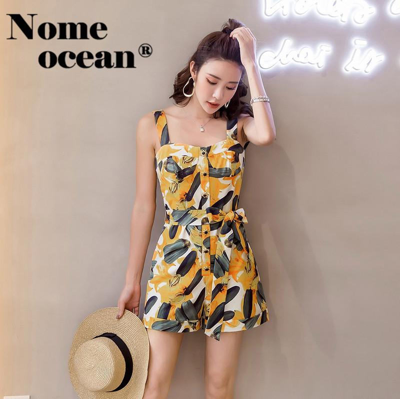 960cee8fa Single Breasted Button Women's Jumpsuits Spaghetti Strap Women Shorts  Playsuits 2018 Summer Belted Short Jumpsuit M18042605 Y190424