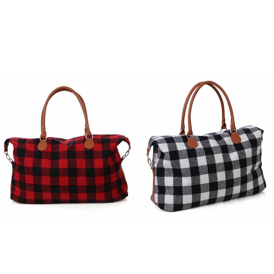 Check Handbag Red Black Plaid Bags Large Capacity Travel Tote with PU Handle Sports Yoga Totes Storage Maternity Bags 2styles RRA2353