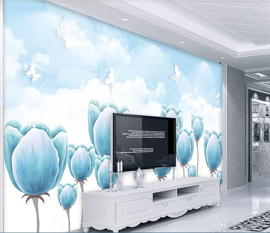 3d wallpaper custom photo Blue tulip beautiful flower butterfly 3d minimalist landscape background wall home decor wall art picture wall art