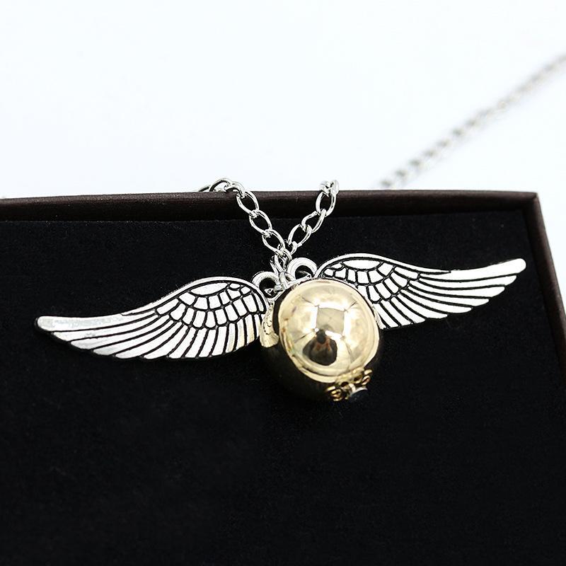 HOMOD Moda Harri Potter Colar Homens Estilo Vintage Angel Wing Charme Pomo De Ouro Pingente de Colar Para Homens Colar