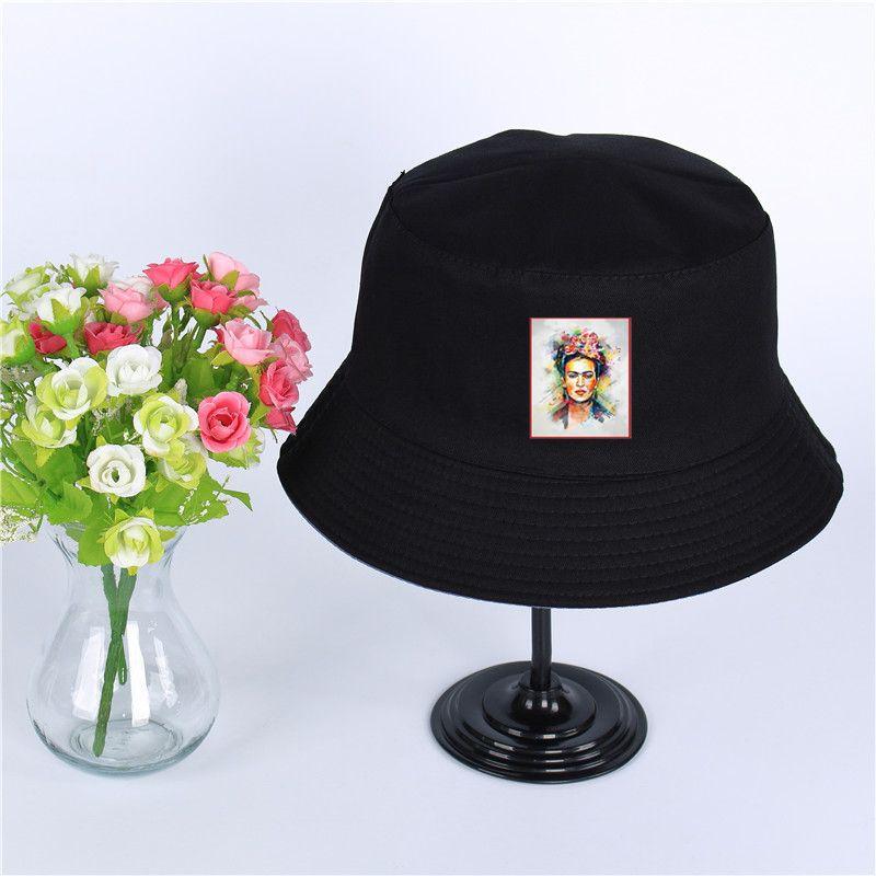 1a94c1dd354 2019 Frida Kahlo Harajuku Print Hat Women Panama Bucket Cap Print Harajuku  Of The Design Flat Visor Fisherman Hat Wide Brimmed Hat From Menceng1986