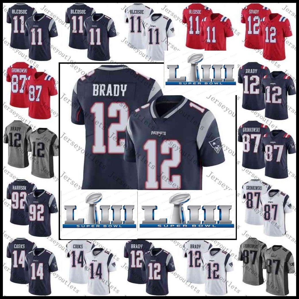 size 40 b703d e10a9 Mens Patriots 11 Julian Edelman 12 Tom Brady 87 Rob Gronkowski 92 James  Harrison 14 Brandin Cooks Jerseys Stitched S-XXXL