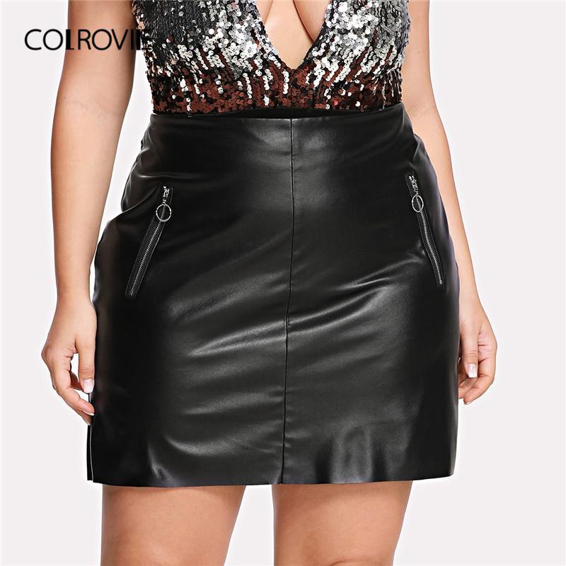 11d43ec94 COLROVIE Tallas grandes Negro Sólido Cremallera Frontal Falda Glamorosa de  cuero sintético Mujeres 2019 Verano Coreano Mini Falda Mujer