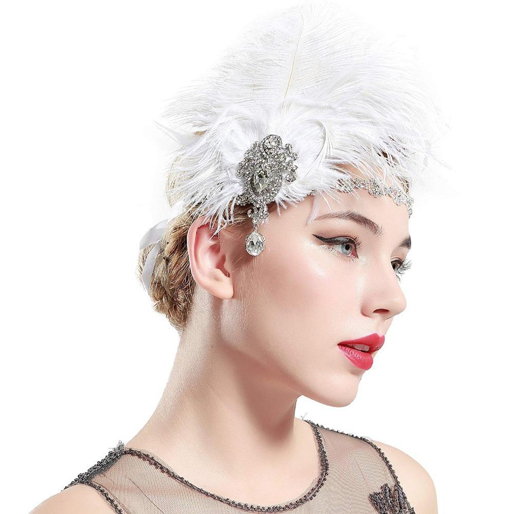 b74ce57c0d1 Women s Vintage FLpper Feather Headbands White Black Colour Party ...