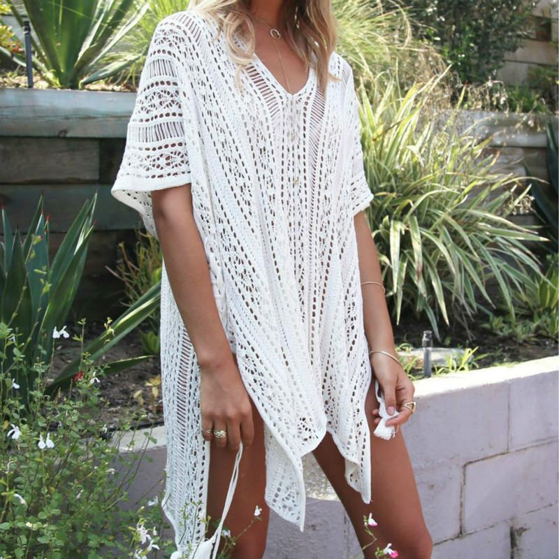 1a2fbcad67 2019 SAKKUS 2017 Sexy Beach Cover Up Crochet White Swimwear Dress Tunic  Ladies Bathing Suit Cover Ups Tunic Saida De Praia Pareo From Winwin2013