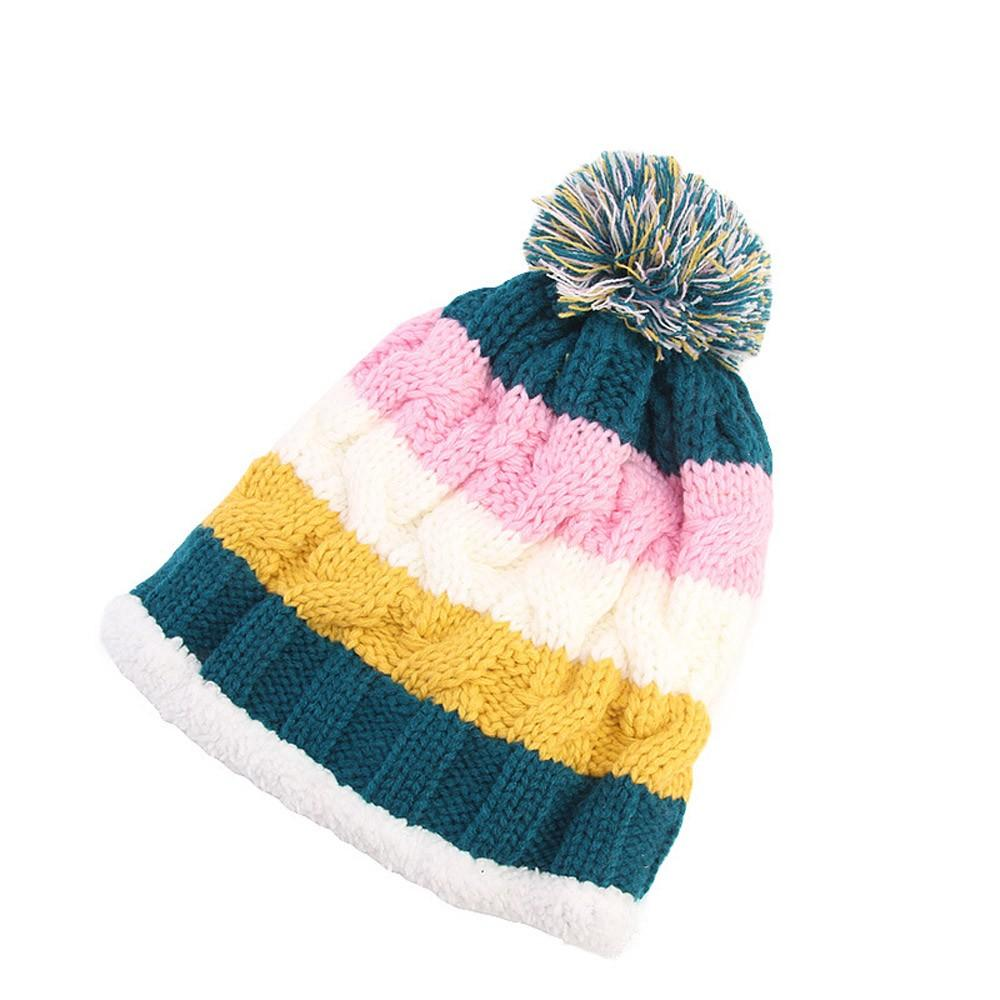 8ea769c1814 Women Soft Stretch Knit Rainbow Stripe Hat Warm Crochet Wool Ski Slouchy  Caps Hat And Snud For Girls Fur Pompon Newborn Hats Knit Beanie From  Ancient88