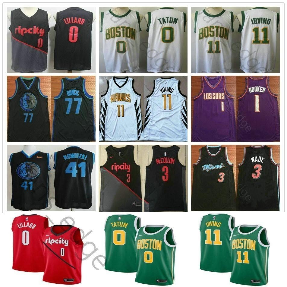 official photos 4de36 e8424 New City Edition 0 Jayson Tatum 11 Kyrie Irving Damian Lillard Trae Young 1  Devin Booker 41 Dirk Nowitzki 77 Luka Doncic Basketball Jerseys