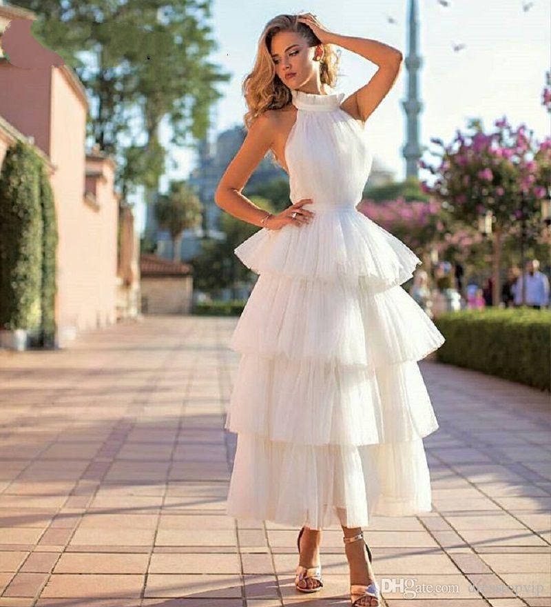 a0ac4ea9c Compre Nueva Llegada Con Gradas De Tul Vestidos De Baile 2019 Blanco Rosado  Negro Por Encargo De Té Longitud Elegante Mujeres Formales Vestido De Gala  ...