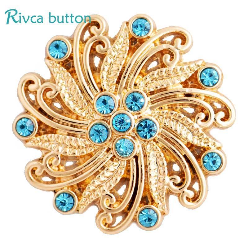 Rivca Snap Botão Pulseiras Para As Mulheres 2017 Mais Novo Plating Gold 18mm Strass Snap Button Encantos Pulseiras jóias D03305