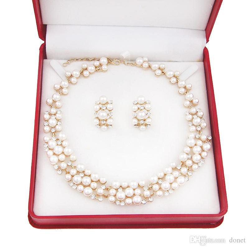 Pearl Gold Plated Simple Elegant Bridal necklace earring Jewelry Sets Kit Gift