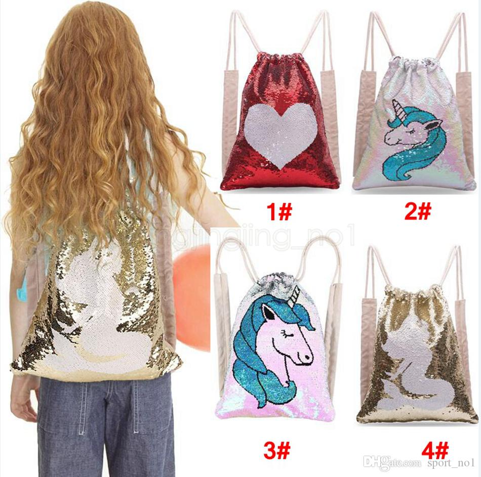 Unicorn Heart Sequins Mermaid Drawstring Backpack kids Reversible changable Outdoor Sports Magic Shoulder Bag child Home Storage Bag AAA1737