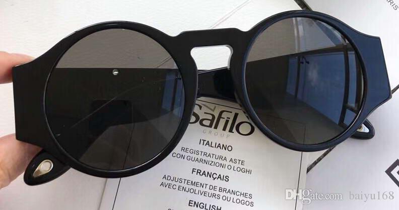 f9a862bf94d33 Compre Óculos De Sol Redondos 7056   S Preto Cinza Cinza Lentes  Sonnenbrille Designer De Luxo Óculos De Sol Novo Com Caixa De Baiyu168,   63.46   Pt.Dhgate.