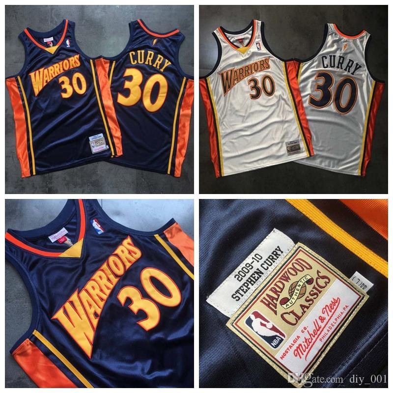 detailed look 1906e b74af Warriors 30# Stephen Curry Jersey MITCHELL NESS Dense AU Fabric 2009-10  Retro Silk Blue Embroidered Basketball Jerseys