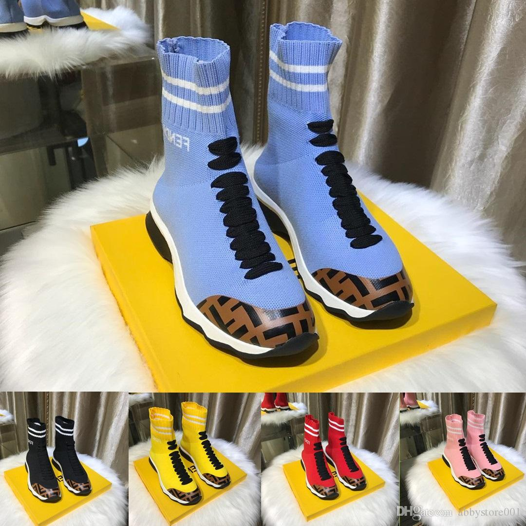 d5e233232fa Stretch Knit Fabric Sneaker Boots Luxury Brand Womens Designer Shoes  Decorative Laces Fashion Sock-like Mid top Sneakers