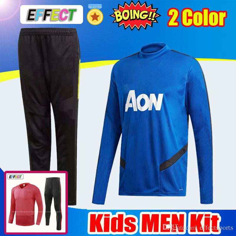 76fece887f8 2019 2019 Chandal POGBA RASHFORD Soccer Training Suit Kit 18 19 20 Blue  Adult Kids Football Tracksuit 2018 LUKAKU ALEXIS Survetement Uniform Set  From ...