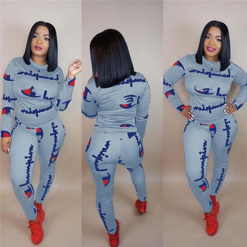 0b3123d787a Women Champions Letter Print Tracksuit Long Sleeve T Shirt Top + Pants  Leggings 2PCS Set hoodie Outfits Sportswear Cotton Clothing Suit New