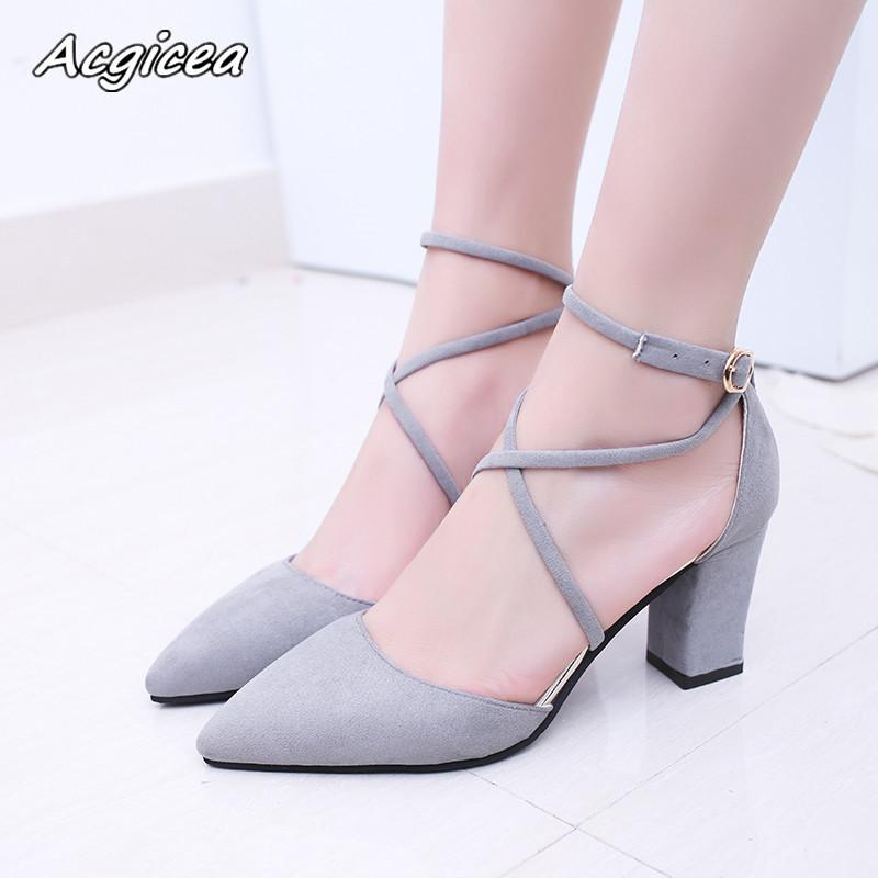 2019 Dress 2018 Spring New Shoes Female Fashion Sexy Pointed Toe Pointed  Buckle High Heels Korean Wild Shallow Wedding Shoes S032 Designer Shoes  High Heel ... 3b893032d968