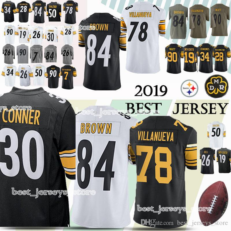 huge selection of 348a2 3abb3 Pittsburgh 33 Steeler jerseys 19 Juju Smith-Schuster 84 Antonio Brown 78  Alejandro Villanue 90 T.J. Watt jersey 2019 High-quality