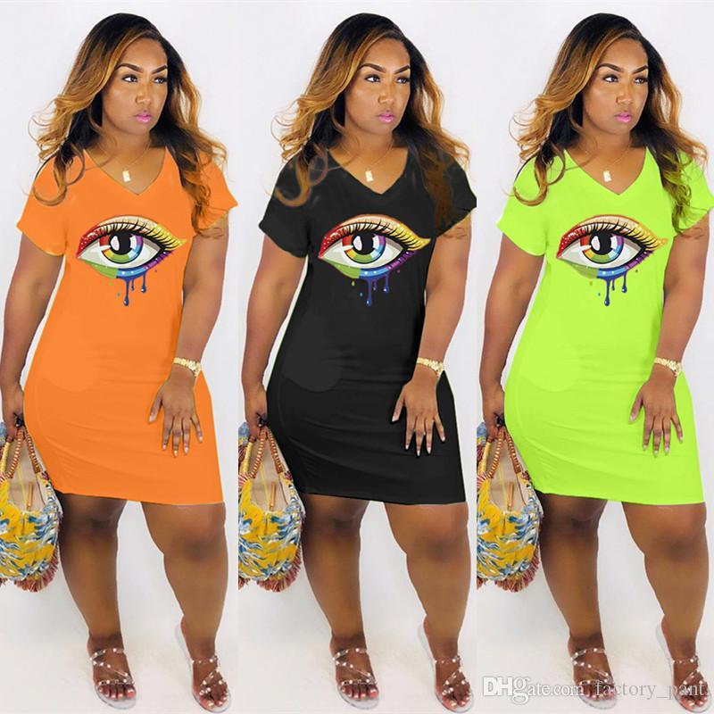 3XL Colorful Pattern Printed Plus Size Casual Dresses New Neon/Black/Orange Street Wear Fashion Woman Chic Dress Wholesale