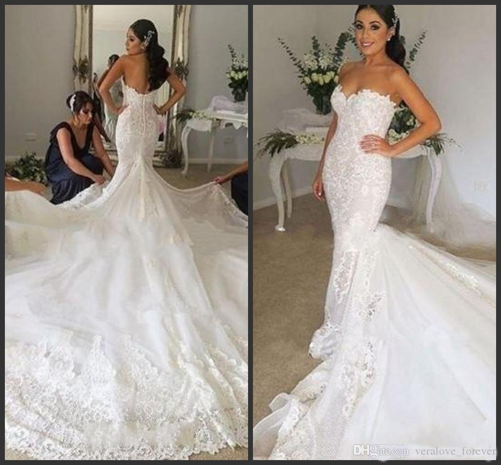 b01c525824005 Lace Mermaid Wedding Dresses 2019 Sweet Heart Backless Chapel Train  Appliques Chapel Garden Country Bridal Gowns Vestido De Novia Dress For  Wedding ...