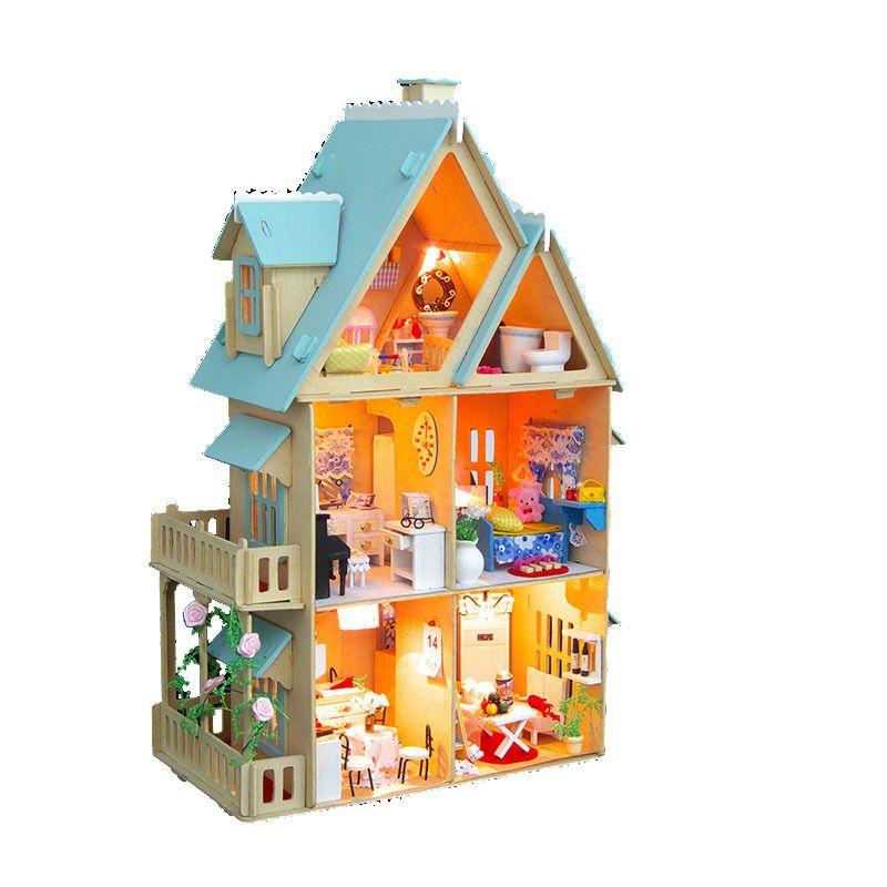 3D Model Doll House Miniature DIY Dollhouse Villa Kit Wood Doll House Light  Furniture Gift