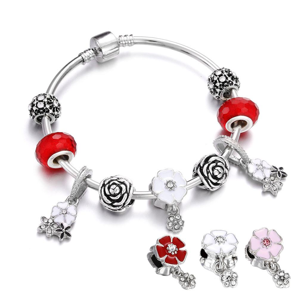Fashion Silver Charm Fine Bracelet Red Crystal Beads Flower Pendant Bangles For Women Girl Gift Original Making DIY Jewelry