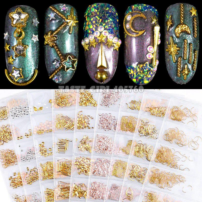 1 Pack Mix Shapes Various Metal Caviars Bars Curved Stripes Frame Studs Nail Art Alloy Rhinestones Gems Decorations DIY Tips